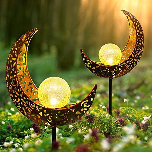 Solarlampe für Außen, infinitoo 2er Pack Metall Mond-Form Solarleuchten LED Stake Dekorative Gartenfahlständer Solarleuchten im Freien Gartendeko für Terrasse, Weg, Hof, Rasen
