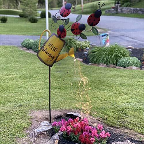 lefeindgdi Solarbetriebene Solar-Gießkanne mit Marienkäfer/Schmetterlingen hilft bei der Bewässerung der Pflanzen für den Außenbereich, Garten, Hochzeit, Ornament (Marienkäfer)
