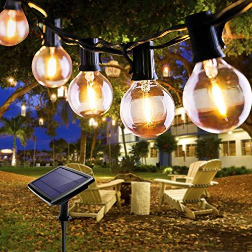 Lichterkette Außen, FOCHEA Lichterkette Glühbirnen 5.5m LED Solar Lichterkette Außen Globe Birnen Lichterkette Garten 4 Modi für Patio Party Aussen Warmweiß mit 10 Stück Glühbirnen