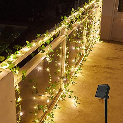 Solar Lichterkette Aussen, Led Lichterkette Efeu,Künstliche Pflanzen Deko für Hochzeit Party Garten Wohnung Balkon (Ahornblatt, 5m)