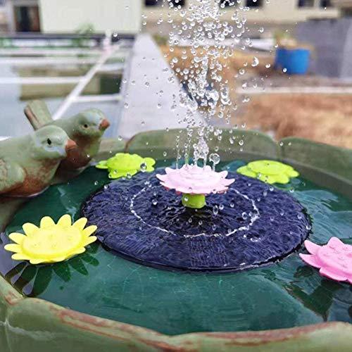 Settoo Solar Springbrunnen mit 11 Fontänenstile,mit 1W Solar Panel, für Garten, Vogel-Bad,Teich,Fisch-Behälter,Solar Schwimmender Fontäne 21 * 21cm