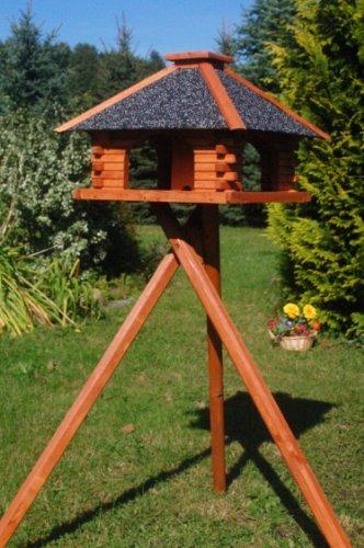 Deko-Shop-Hannusch Vogelhaus mit Ständer, Vogelhäuschen, sehr stabil, imprägniert, mit Strukturputzdach, Futterhaus
