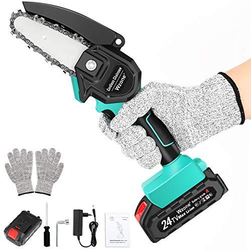 Wzone Mini Kettensäge Elektro, 4 Zoll elektrisches Kettensäge-Set mit einem Akku 24V 2Ah, Handschuhe, Einer Ladegerät für Schneiden von Holz, Metall, Plastik