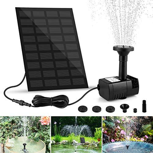 yotame Solar Springbrunnen, Solarpumpe Teichpumpe mit 1.8W Solar Panel Garten Wasserpumpe mit 4 Effekte Solar schwimmender Fontäne Pumpe für Gartenteich Oder Springbrunnen Vogel-Bad Fisch-Behälter