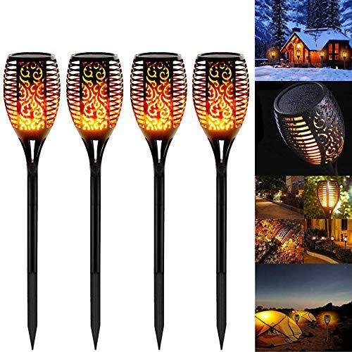 4 Stück Solarleuchten Garten Außen, Swonuk Solar Flammenlicht mit Wasserdicht IP65, Gartenleuchten mit...