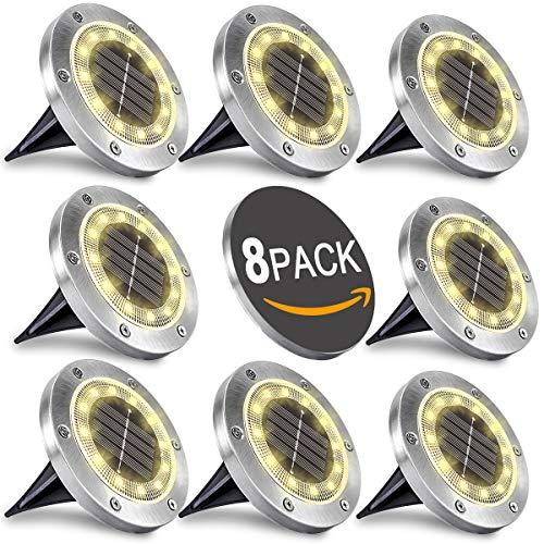 WOWDSGN Solar Bodenleuchten 12 LEDS Warmweiß Solar Wegeleuchten Außen Solarleuchten Edelstahl IP65...