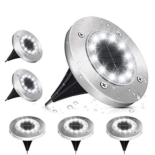 Solar Bodenleuchte, SOLMORE 12 LEDs Solarlampen Solarlicht für Garten, 6000K Kaltweiß IP65 Wasserdichte Bodenstrahler Landschaft Beleuchtung für Außen, 6 pack