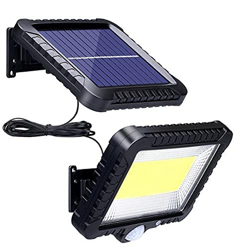 Solarlampen für Außen mit Bewegungsmelder, ZOYJITU 100 LED Strahler 270° Superhelle Solarleuchten für Außen LED IP65 Wasserdichte 3 Modi Solar Wandleuchte mit 16.5ft wasserdicht Kabel