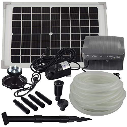 Agora-Tec® at-Solar Bachlaufpumpen - Set 10W-BLH monokristallin mit Akku und LED Ring inkl. 9 Meter Bachlaufschlauch und LED Halter, Förderhöhe: 2,45 m bei Verwendung eines Schlauches