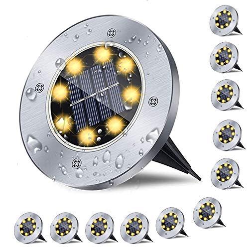 12er Solar Bodenleuchten , Solarlampen für Außen , 8 LED Gartenleuchten Solar, IP65 Wasserdicht Solarlampe Garten , Solarleuchten Garten für außen, Terrasse, Rasen, Hof-(Warmweiß )
