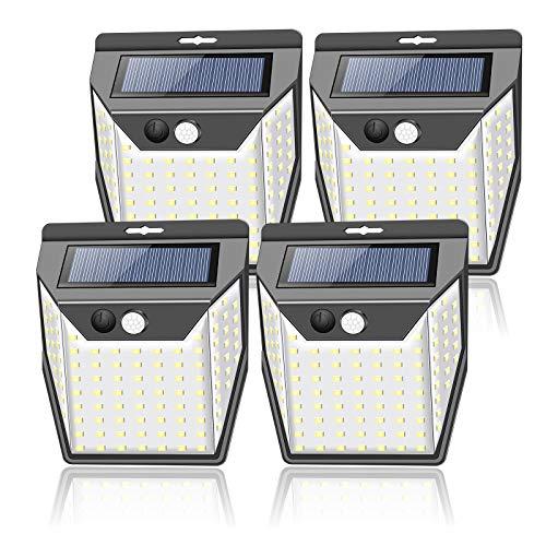 99 LEDs Solarlampen für Außen mit Bewegungsmelder aussen[4 Stück/2000mAh]Solarleuchten für außen Garten 1000 Lumen Aussenleuchte 3 Modi IP65 Wasserdichte Wandleuchte
