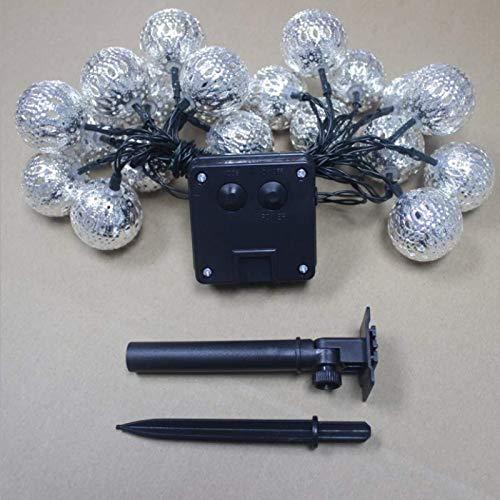 Positive weiße Solar marokkanische Schmiedeeisen hohle kleine Kugel im Freien wasserdichte LED-Lichterketten Weihnachtsgarten Dekoration Lichter 20LED