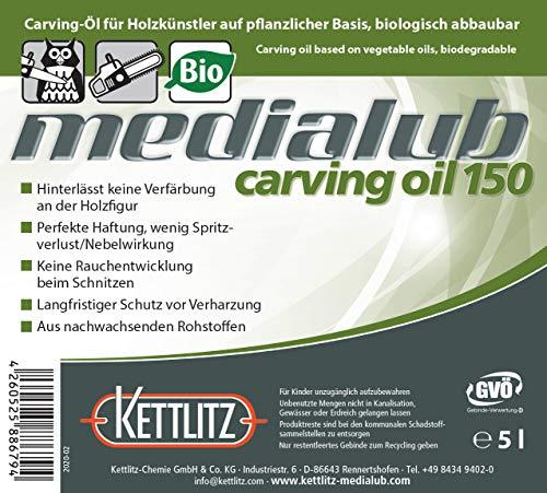 KETTLITZ-Medialub Carving Oil 150 - Bio Kettenöl für Holzschnitzer - Kanister 5 Liter