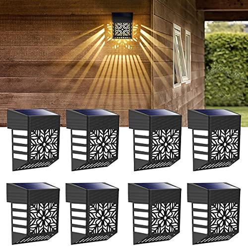 Solarlampen für Außen, Solar Wandleuchte Aussen 8 Stück Wasserdicht IP54 LED Solarleuchten Lampe für Garten, Balkon, Terrassen, Zaun, Garage Balkon Wege