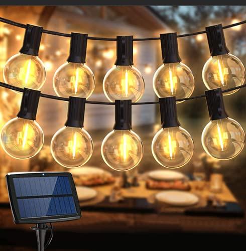 LED Lichterkette Außen Solar,Balippe 8.9M Lichterkette Glühbirne mit 28er+2er,Solar lichterkette Aussen IP55 Wasserdicht 4 Modus für Garten, Hochzeit, Balkon, Haus, Party, Weihnachten Deko, Warmweiß