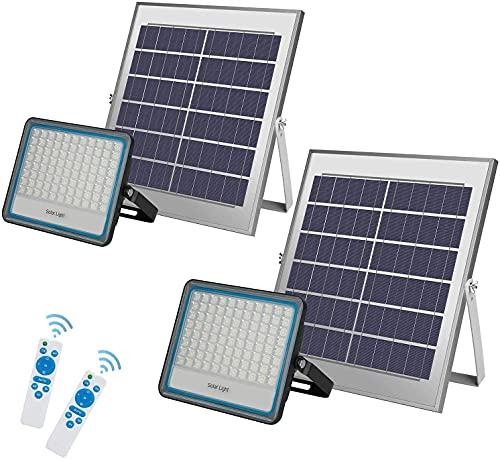 2 Pack 100W LED Solar Flutlicht 176LED Dämmerung bis Morgengrauen Solarbetriebene Straßenlaterne Wasserdicht IP67 mit Fernbedienung