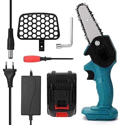 LJJ Akku Kettensäge Mini mit Akku und Ladegerät, Handkettensäge für Holzschneiden Schneiden von Holzzweigen, Astschnitt und Garten,Blue