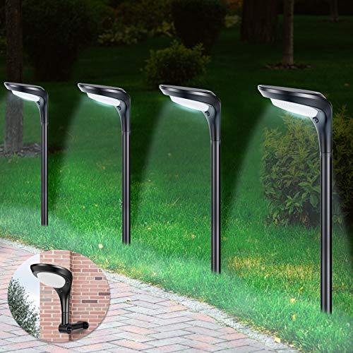Litake Solar Gartenleuchte, 4 Stück Solarlampen für Außen 2 Modi Solarleuchten Wegeleuchte IP65 Wasserdichte Auto Ein/Aus Landschaftslichter Aussenlicht für Garten/Patio/Rasen/Pfad