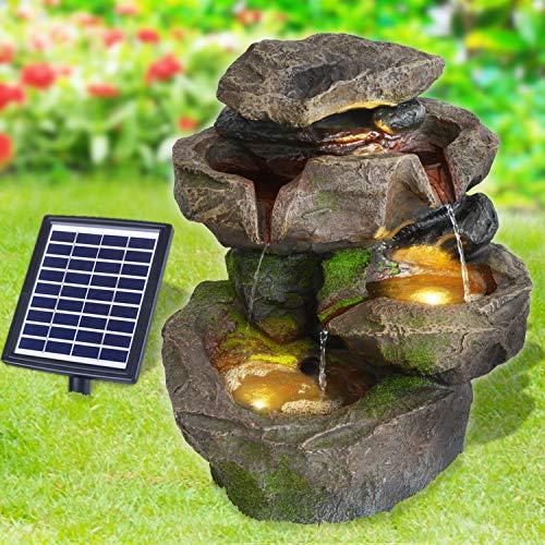 Solar Gartenbrunnen Brunnen Solarbrunnen Zierbrunnen Stein-Kaskade SCHWARZWALD mit LED-Licht, Wasserfall Gartenleuchte Teichpumpe für Terrasse, Balkon, mit Pumpen, mit Liion-Akku