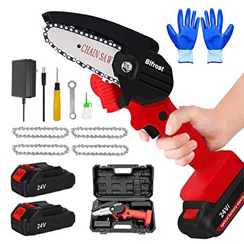 Handheld Mini-Kettensäge 4-Zoll-Elektro-Akku-Kettensägen, Tragbare 24-V-500-W-Elektrokettensägen Astschere Kettensäge Mit 2 Batterien Und 4 Ketten,Red mini chainsaw
