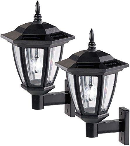 Luminea Solar Wandleuchte: 2er-Set Solar-LED Außen-Wand-Leuchten, weißes Licht, 25 Lumen (Außenwandlampe)
