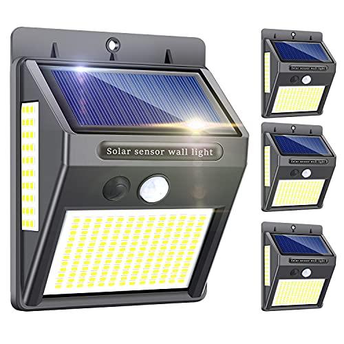 Solarlampen für Außen mit Bewegungsmelder,【Hohe Qualität 216LED-1000Lumen】Solarleuchte Aussen 2200mAh Solar Wasserdichte Wandleuchte Led Solar Bewegungsmelder Aussen Solarlicht für Garten-4 Stück