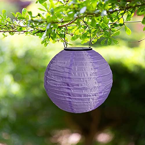 MuSheng Solar Außen,Solar LED Lampion Party Gartenlaterne Rund Ballform Lampenschirm Wasserdicht Hängende für Hochtzeit Kirche Party Dekoration Solarlaternen Werden für die Gartendekoration (K)