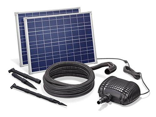 Solar Bachlaufset 70W Solarmodul 3400 l/h Förderleistung 3m Förderhöhe inkl. 5m Schlauch 32mm Bachlaufpumpe...