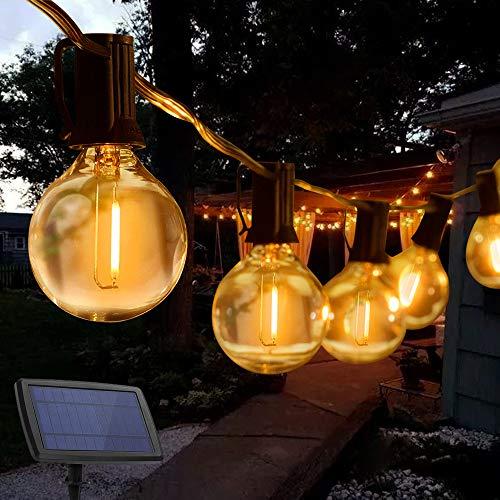 Solar Lichterkette Außen, TOGAVE 7.6M Lichterkette Glühbirnen 25er LED Lichterketten mit 4 Modi und 2 Ersatzbirnen IP44 Wasserdicht Lichterkette Balkon für Garten, Terrasse, Terrasseund Innenzimmer