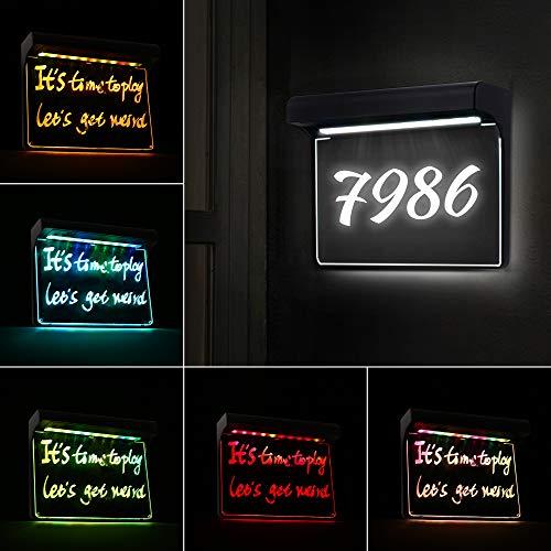Hausnummer Solar Beleuchtet, 20 LEDs, Solar Hausnummer Lampe Dämmerung bis zum Morgengrauen, IP65 Wasserdicht für Garten Außenstraße, DIY, mit Weißlichtstift, Umweltfreundlich, Kühlweiß + RGB
