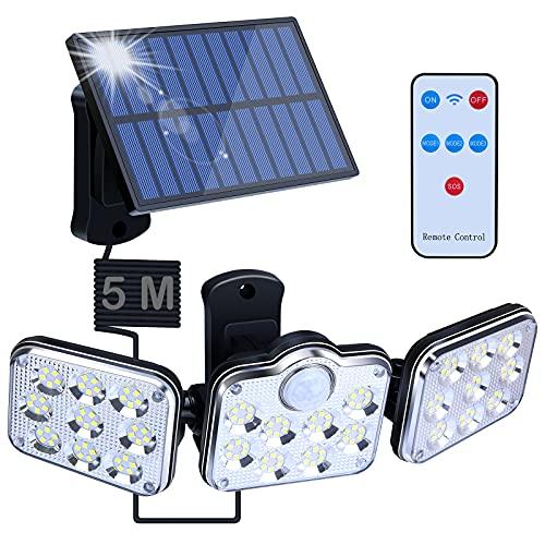 Solarlampen für Außen mit Bewegungsmelder,138 LED Strahler Außen mit Fernbedienung,260°Beleuchtungswinkel Solar Strahler IP64 Wasserdichte 3 Modi Drehbare Solar Außenwandleuchten für Garten (schwarz)