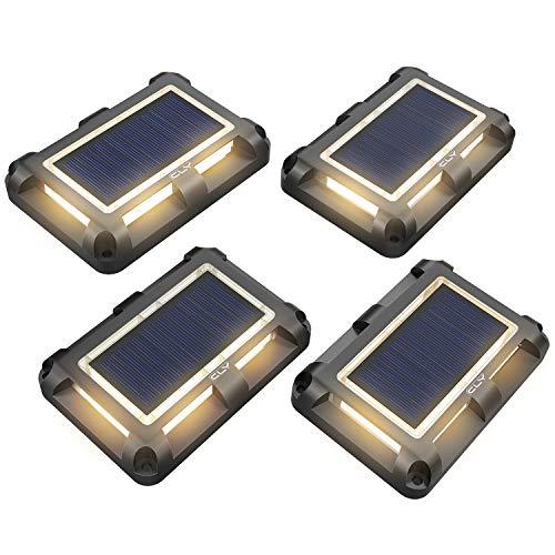 CLY Solar Bodenleuchten,20 LEDs Solarleuchte für Garten,Solar Außenleuchte IP67 Wasserdicht, Solarleuchte Boden für Rasen, dachrinnen, Fahrstraßen Gehweg [4Stück Warmweiß] [Energieklasse A+++]