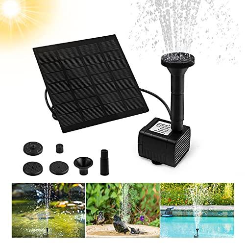 omitium Solar Springbrunnen, Solar Teichpumpe Garten Wasserpumpe Solarpumpe mit 1,2W Monokristalline Solar Panel Brunnen für Gartenteich Vogel-Bad Fisch-Behälter Kleiner Teich (4 Fontänenstile)