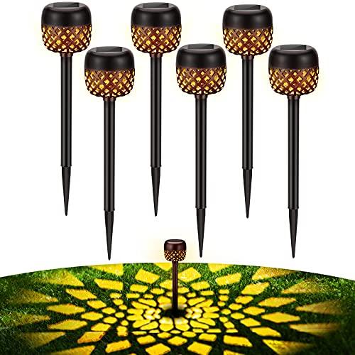 BUCASA Garten Solarlampen für Außen, 6 Stück WarmweißSolar Gartenleuchte mit Blumenmuster, IP65 Wasserdicht Auto Ein/Aus Garten DekoSolarleuchten für AußenHof, Rasen, Terrasse