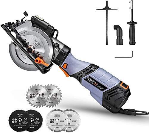 Handkreissäge, TACKLIFE 750W 3500U Mini Kreissäge mit 6 Variable Geschwindigkeiten, Schnitttiefe: 90 °:...
