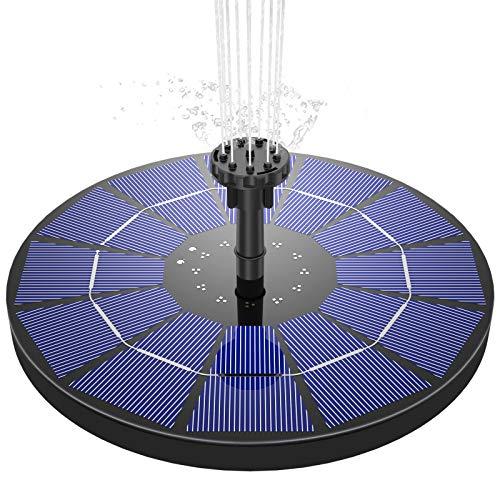 AISITIN Solar Springbrunnen,3.5W Solar Teichpumpe mit Solar Panel Eingebaute Batterie Wasserpumpe Solar Schwimmender Fontäne Pumpe mit 6 Fontänenstile für Garten, Vogel-Bad,Teich,Fisch-Behälter