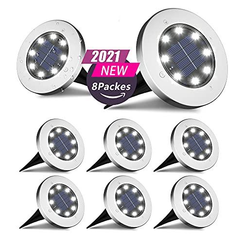 FLOWood Solar Bodenleuchte Solarleuchte für Garten Solar Außenleuchte 8 LEDs wasserdicht Edelstahl + Kunststoff 8 Stk [Energieklasse A+]