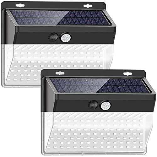 Prime Garden Solarlampe mit Bewegungsmelder 2 Stück - Solarleuchte Außenlampe mit 206 LED Lichtern und Bewegungssensor - Gartenlampe Wandleuchte - ABS + Metall - 14,1 cm x 6,2 cm x 11 cm - Schwarz