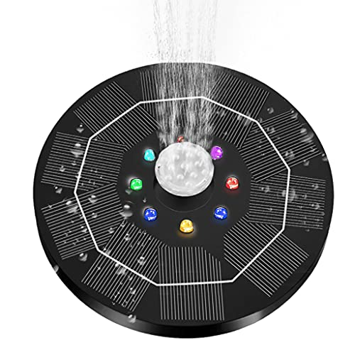 AniYY 5V 3W Solar Springbrunnenpumpe für Vogeltränke Wasserpumpe mit 8 LED-Lichtern, 6 Düsen für Garten Teich Pool Hinterhof
