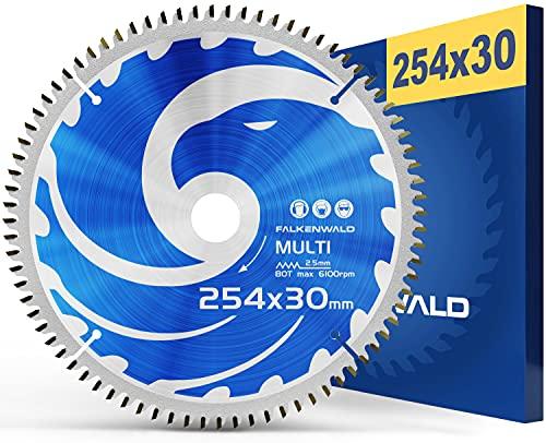 FALKENWALD ® Sägeblatt 254x30 80 Zähne ideal für Holz, Metall & Alu - Multi Kreissägeblatt 254 x 30...