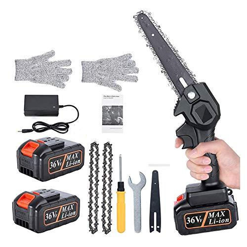 Mini Kettensäge 36V Mini Säge Motorsäge Elektro 6 Zoll Akku Handkettensäge, mit 2 akku und 2 Ketten, Einstellbare Geschwindigkeit, für Gartenbaum Landwirtschaft Ranch Bäume schneiden