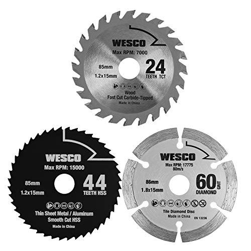WESCO 3-teiliges Mini Kreissäge Sägeblatt Set, 85mm 24 Zähne TCT/ 85mm 44 Zähne HSS/ 86mm 60 GRIT DIAMOND...