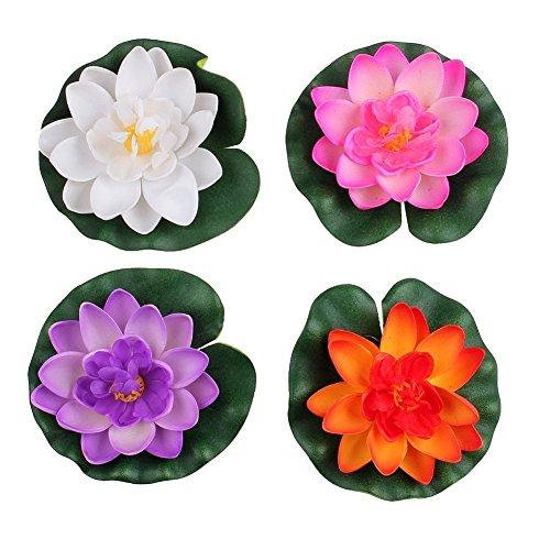 FSSTUD 4 STK Wasserlilie Schwimmend Lotusblüte Seerose Seerosen Pflanzen Künstliche Blumen Deko Teich 10cm