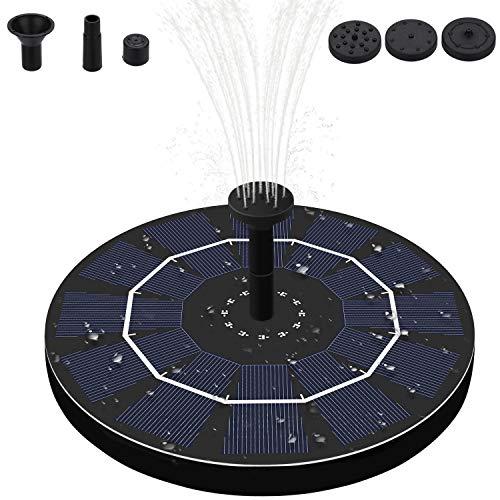 Fostoy Solar Springbrunnen Pumpe, 2.5W Solar Teichpumpe mit Backup Batterie & 4 Düsen, Solar Outdoor Waaserpumpe für Garten/Teich/Fontänen/Vogel- Bad