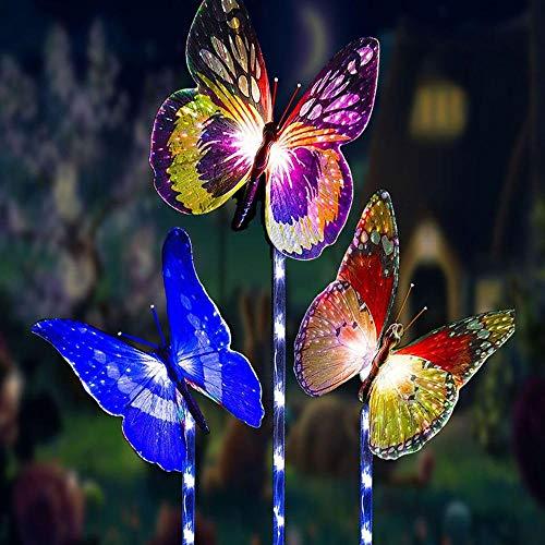 Schmetterling Garten Solar Beleuchtung für Außen,[3 Stück]XVZ Solarleuchten mit Breiterem Solarpanel und Farbe Ändern LED Licht Faseroptik für Draussen Partydekorationen Beleuchtung Rasen Weg Gehwe