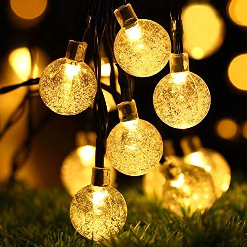Solar Lichterkette Außen, OxyLED 30 LED Aussen Solar Lichterkette Kristall Kugeln, 8 Modi Wasserdicht IP65 Solar Lichterkette Außen warmweiß Garten Lichterkette Beleuchtung für Partys