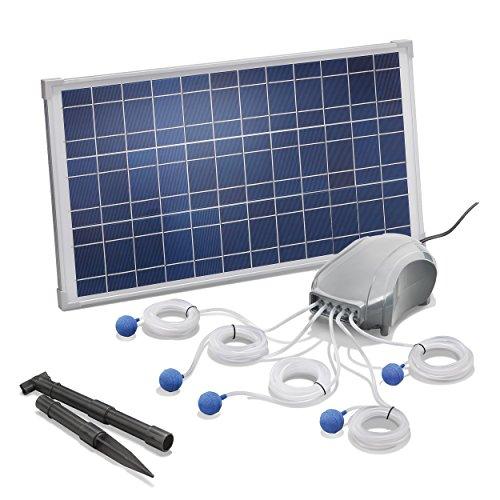 Solar Teichbelüfter 25W Solarmodul 5 x 120l/h Luftleistung 600l/h gesamt Gartenteich Sauerstoffpumpe esotec pro Komplettset 101076
