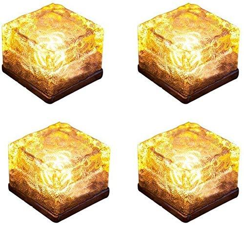 LED Solar Bodenleuchten Glas Pflastersteine Wegbeleuchtung Solarlampen Außen Dekoration Lichter für Garten, Balkon und Terrasse 4er Set (Warmweiß)