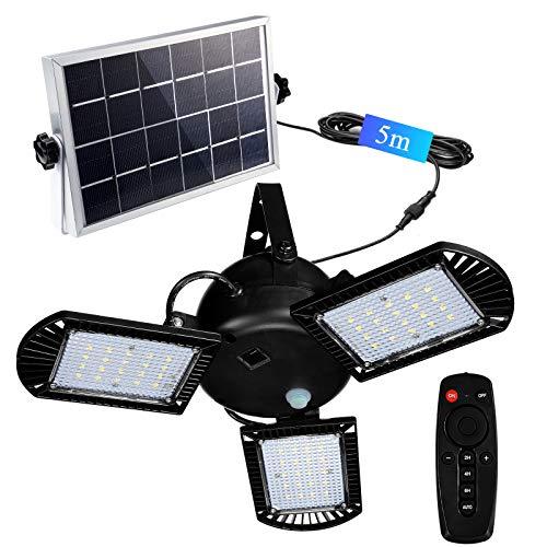 Solarleuchten, 60 Led Solarlampe mit 5m Kabel für AußEn Innen Gartenhaus Pavillon , 800 lm Solar...