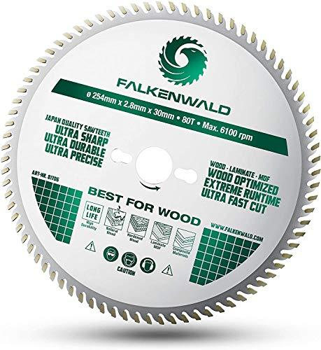 FALKENWALD ® Sägeblatt 254x30 für Holz - 254x30 Kreissägeblatt mit 80 HM Zähnen - Kompatibel mit Bosch GTS 10 XC, PTS 10 Tischkreissäge & Metabo Kappsäge KGS 254 M - Kreissägeblatt 254 x 30